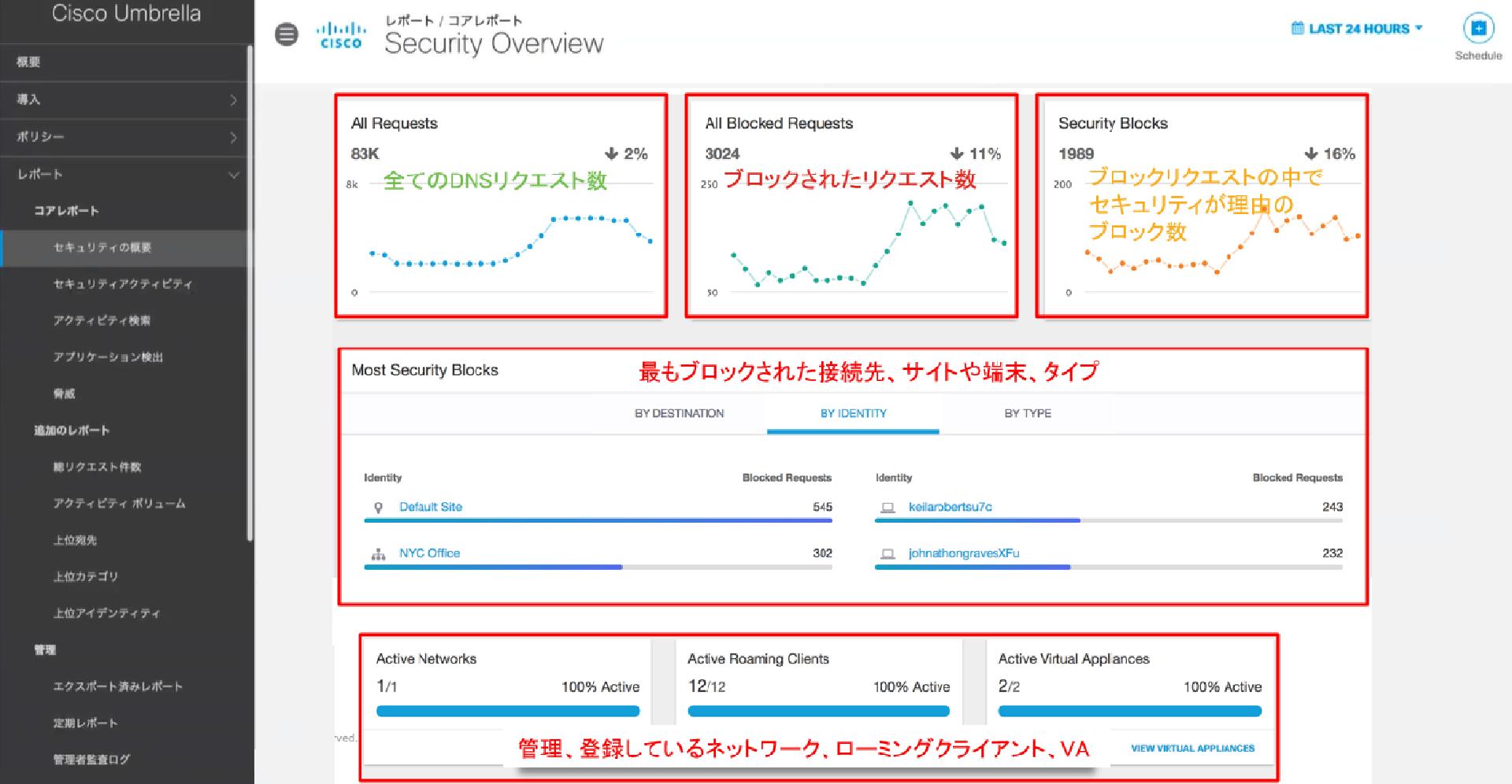 全てのDSNリクエスト数 ブロックされたリクエスト数 ブロックリクエストの中でセキュリティが理由のブロック数 最もブロックされた接続先、サイトや端末、タイプ 管理、登録しているネットワーク、ローミングクライアント、VA